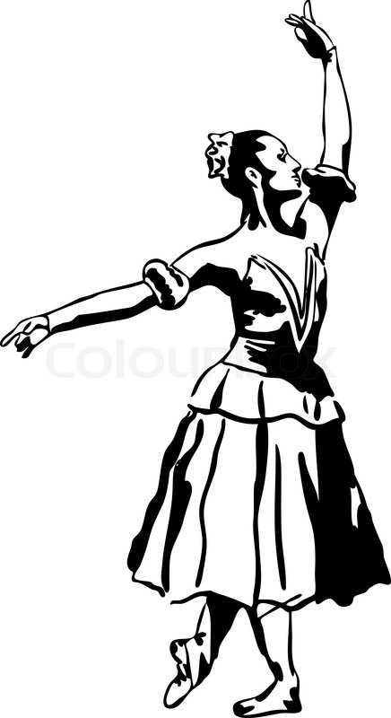 436x800 A Sketch Of Girl's Ballerina Standing In A Pose Stock Vector