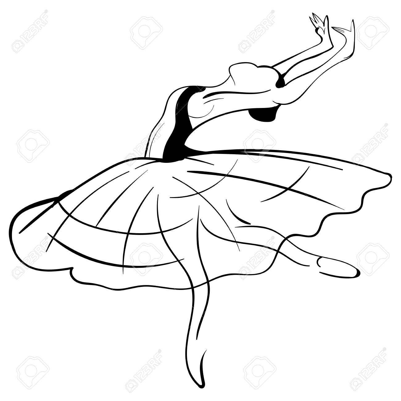 1300x1300 Beautiful Drawing Ballerina On A White Background, Sketch. Vector