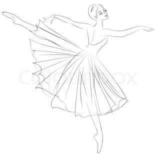 320x308 Blue Ballerina, Drawing Gouache Stock Photo Colourbox
