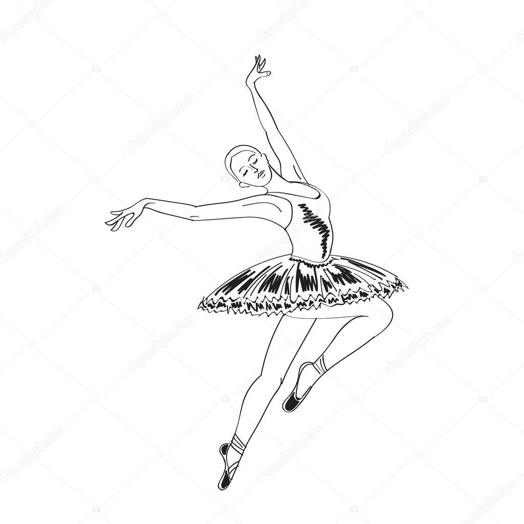 1024x1024 Jumping Ballerina Sketch. Stock Vector Julija Grozyan