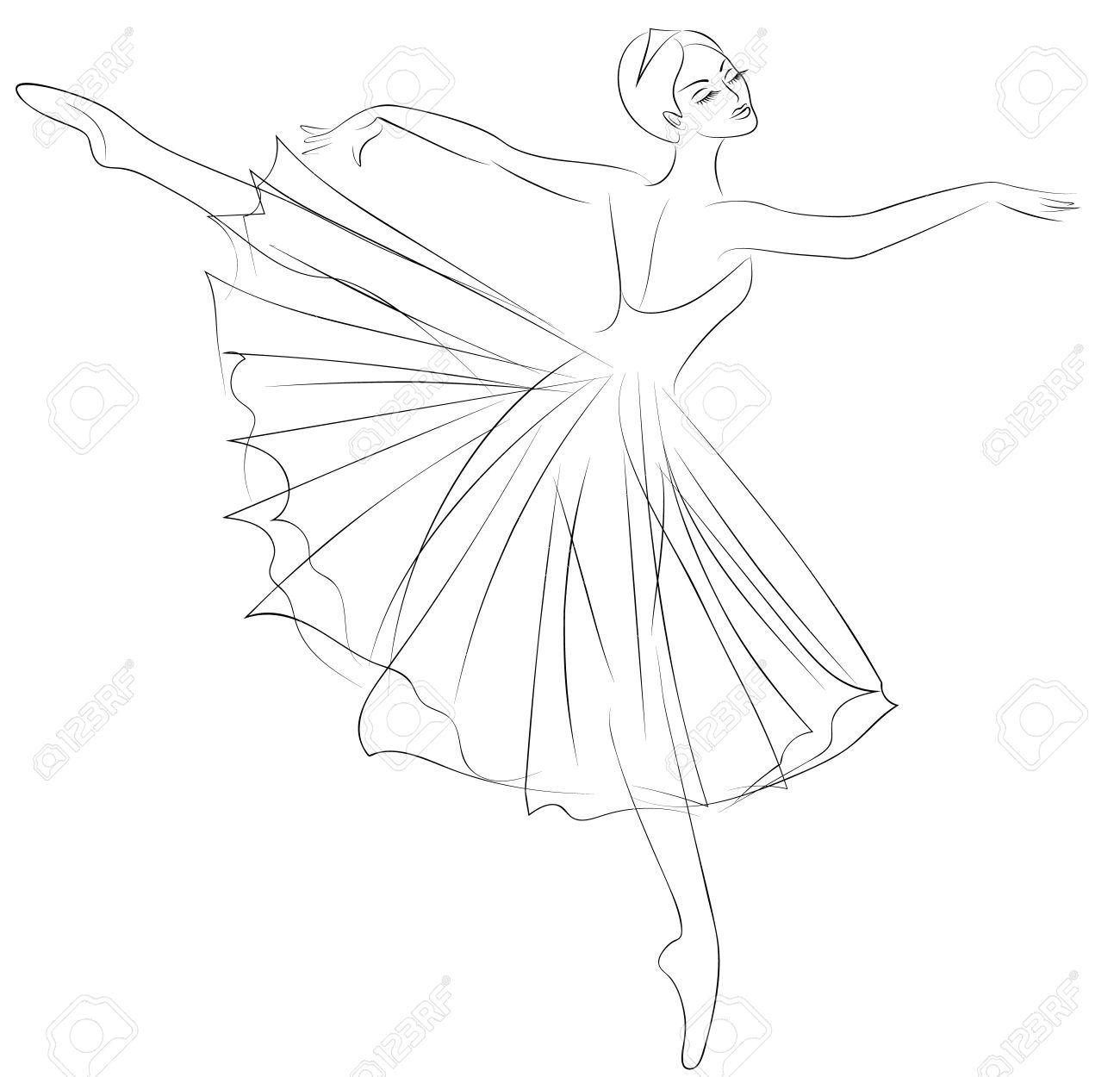 1300x1250 Outline Sketch Of Dancing Ballerina In Beautiful Dress Royalty