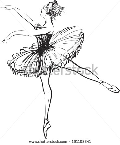 389x470 Black And White Drawing Ballerina On A White Background,sketch