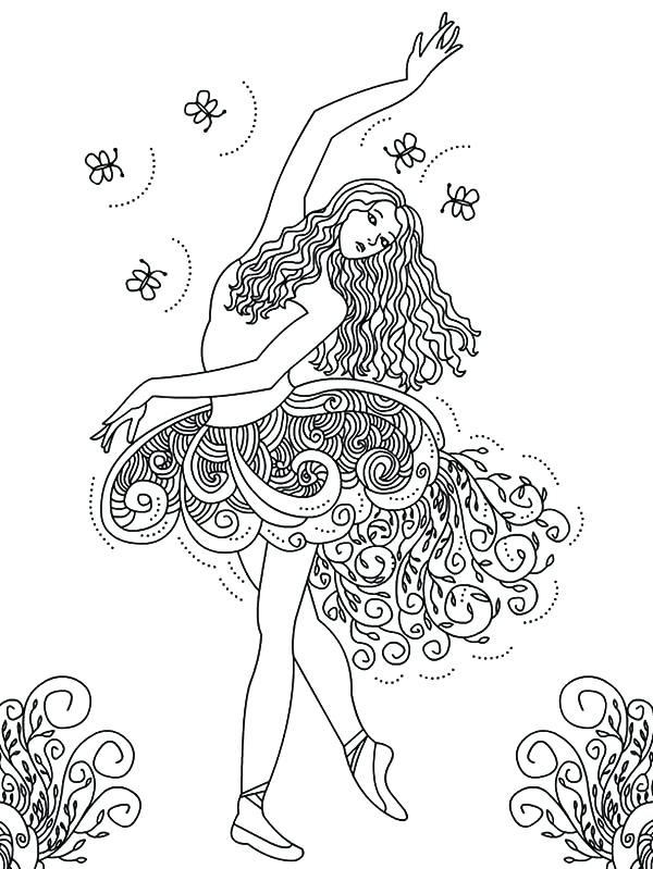 600x799 Beautiful Ballerina Girl Coloring Pages Sky Free Barbie Murs