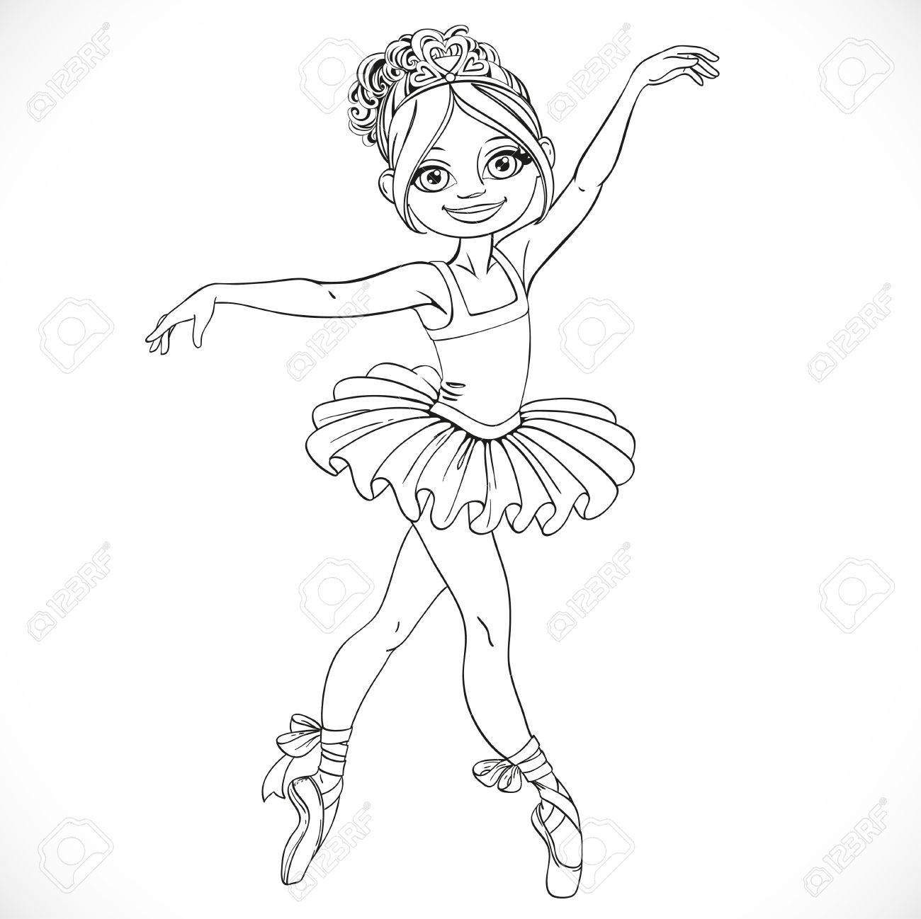 1300x1298 Beautiful Ballerina Girl Dancing In Tutu Outlined Isolated