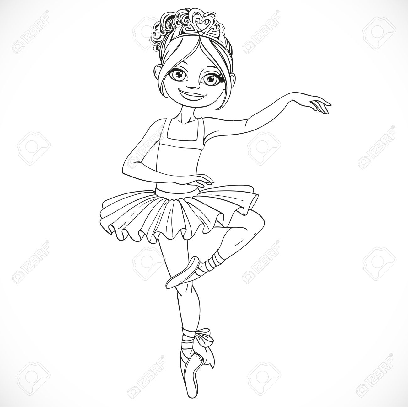 1300x1298 Cute Ballerina Girl Dancing Outlined Isolated On A White