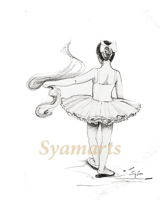 570x713 Dancers Imagination Original Drawing Sale Ballerina Girl
