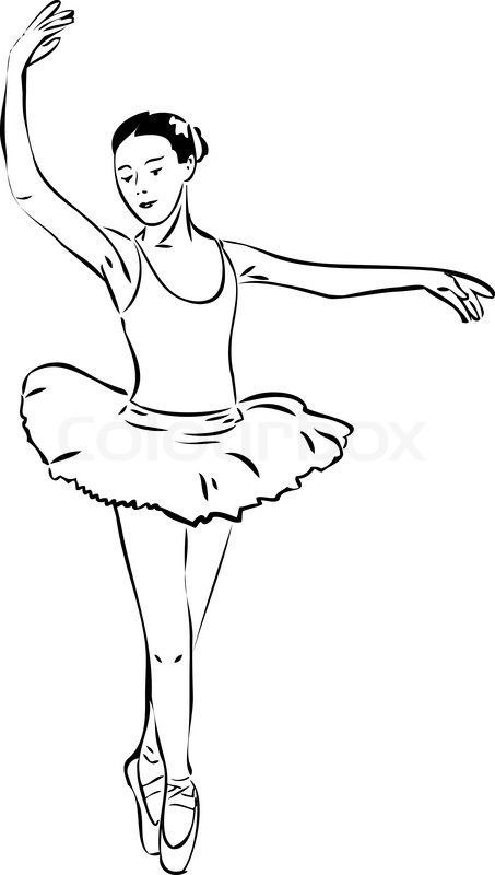 453x800 A Sketch Of A Girl Dancer Dancing On Pointe Stock Vector Colourbox