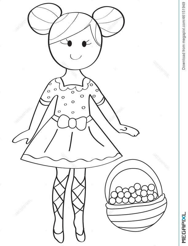 612x800 Hand Drawn Coloring Page Of A Ballerina Girl With A Fruit Basket