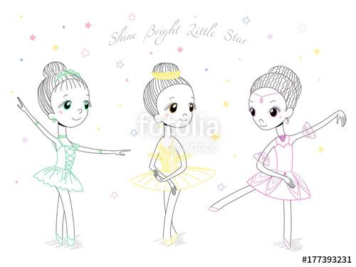 500x375 Hand Drawn Vector Illustration Of Cute Little Ballerina Girls