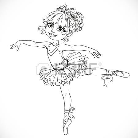 450x449 Little Ballerina Girl Dancing In Ballet Tutu On One Leg Outlined