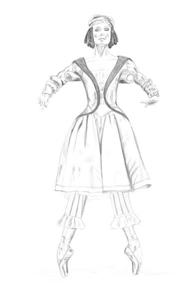 384x600 The Ballerina Puppet Petrushka Original Art For Sale