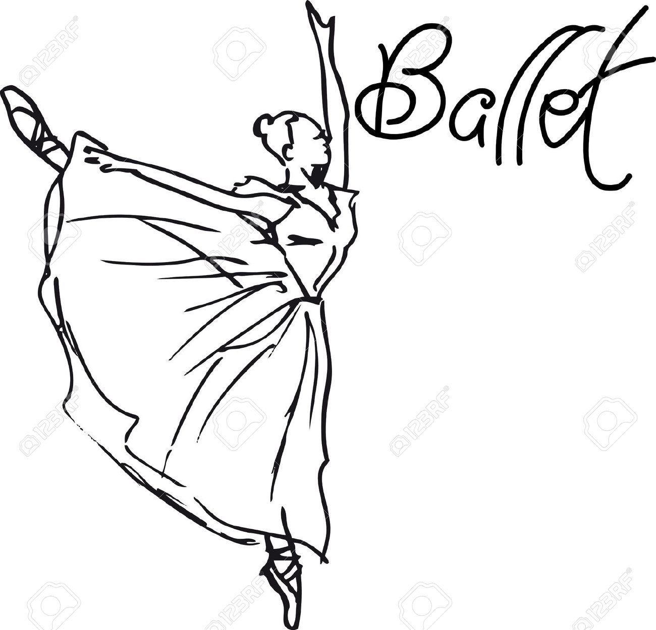 1300x1250 Ballerina Clipart Line Drawing
