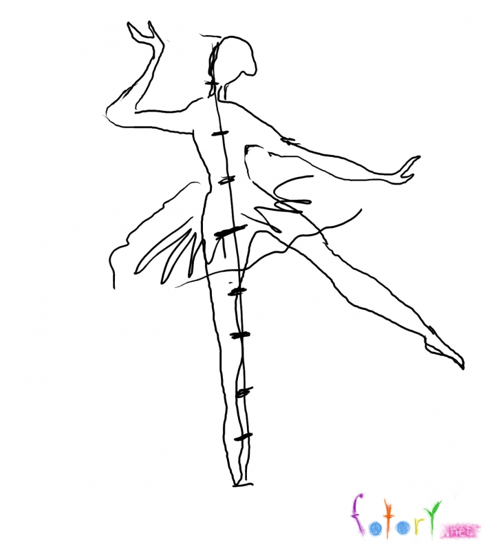 705x800 How To Draw The Ballerina With A Pencil Step By Step