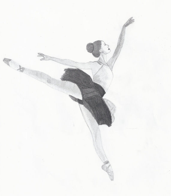 570x653 Items Similar To Drawing Of Ballet Dancer. Ballerina. Pencil