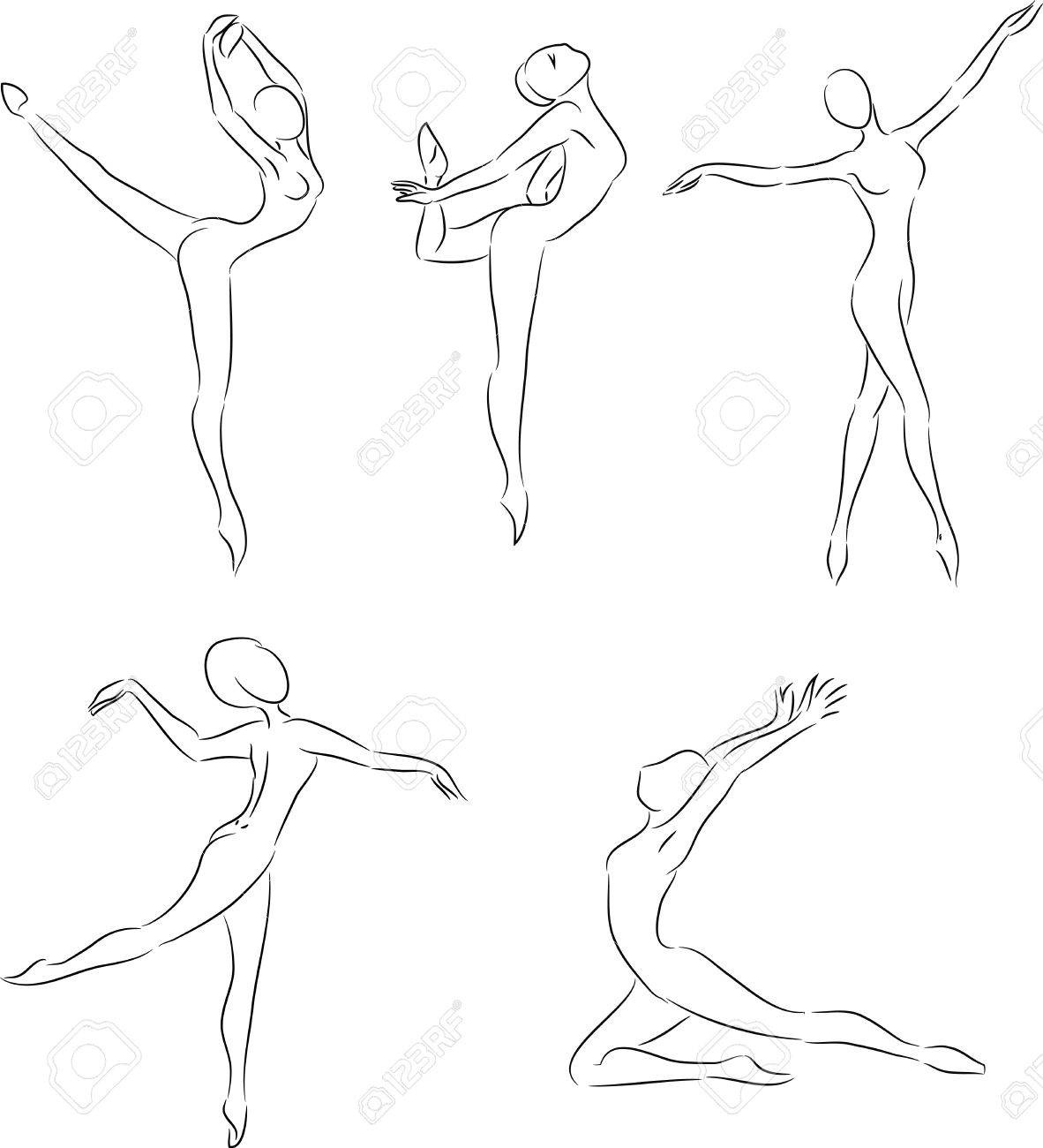 1182x1300 Ink Sketches Of Ballet Dancer's Motions Royalty Free Cliparts