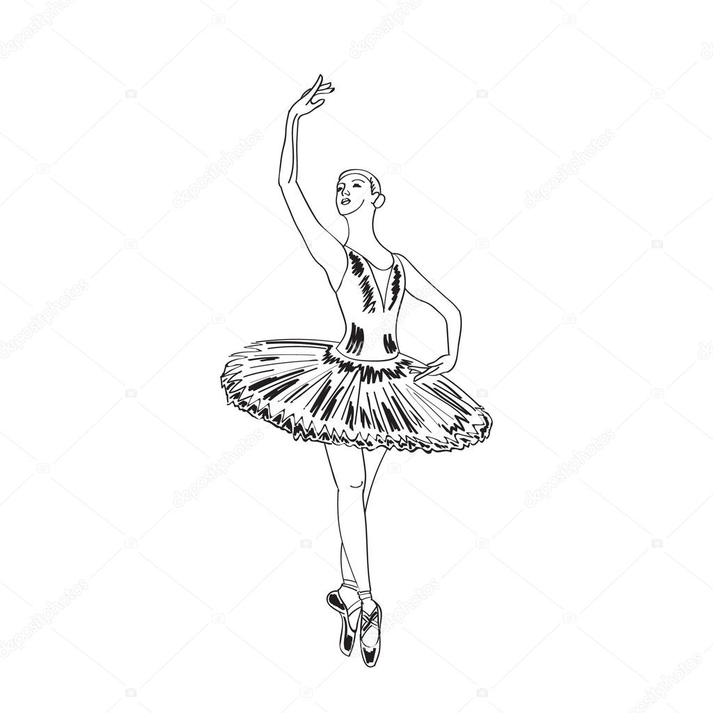 1024x1024 Ballerina Standing In A Pose Stock Vector Julija Grozyan