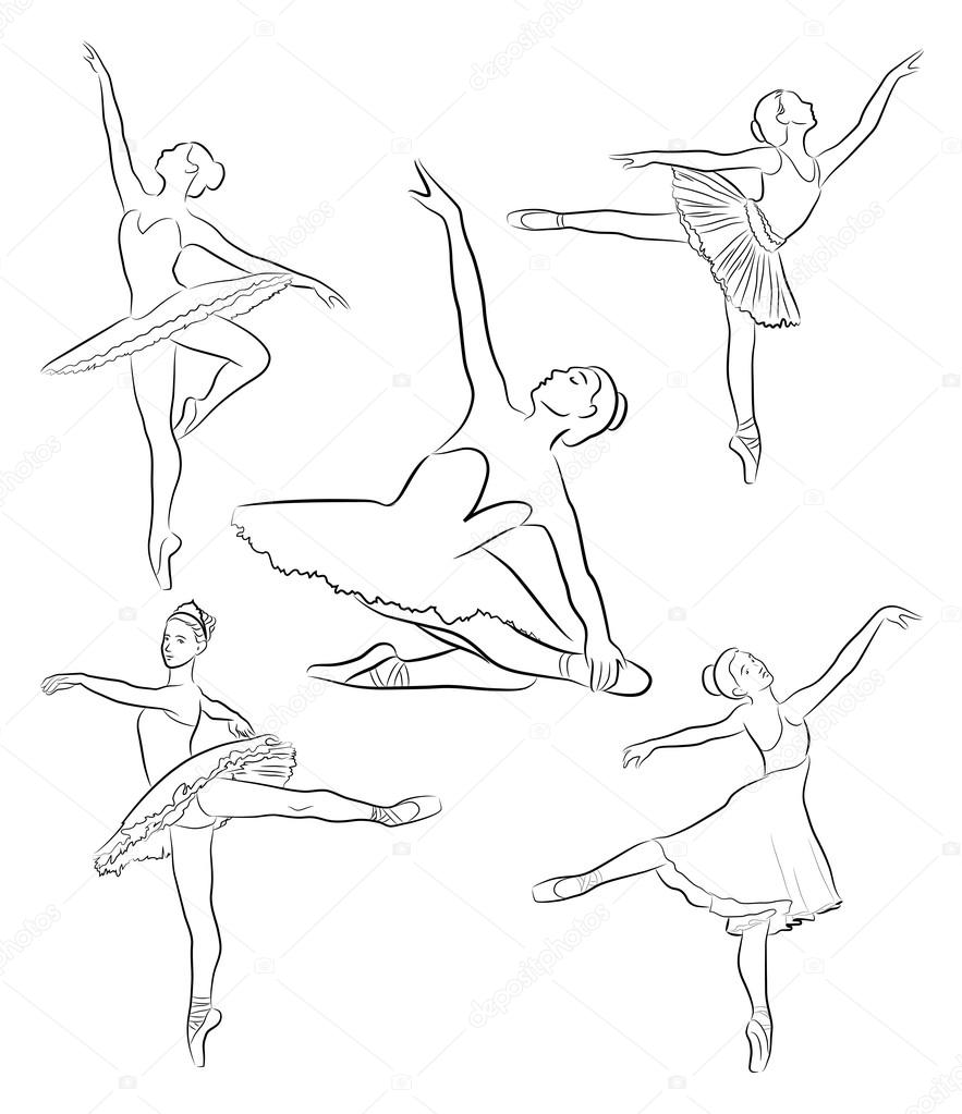 883x1023 Ballerinas Collection, Line Drawing Stock Vector