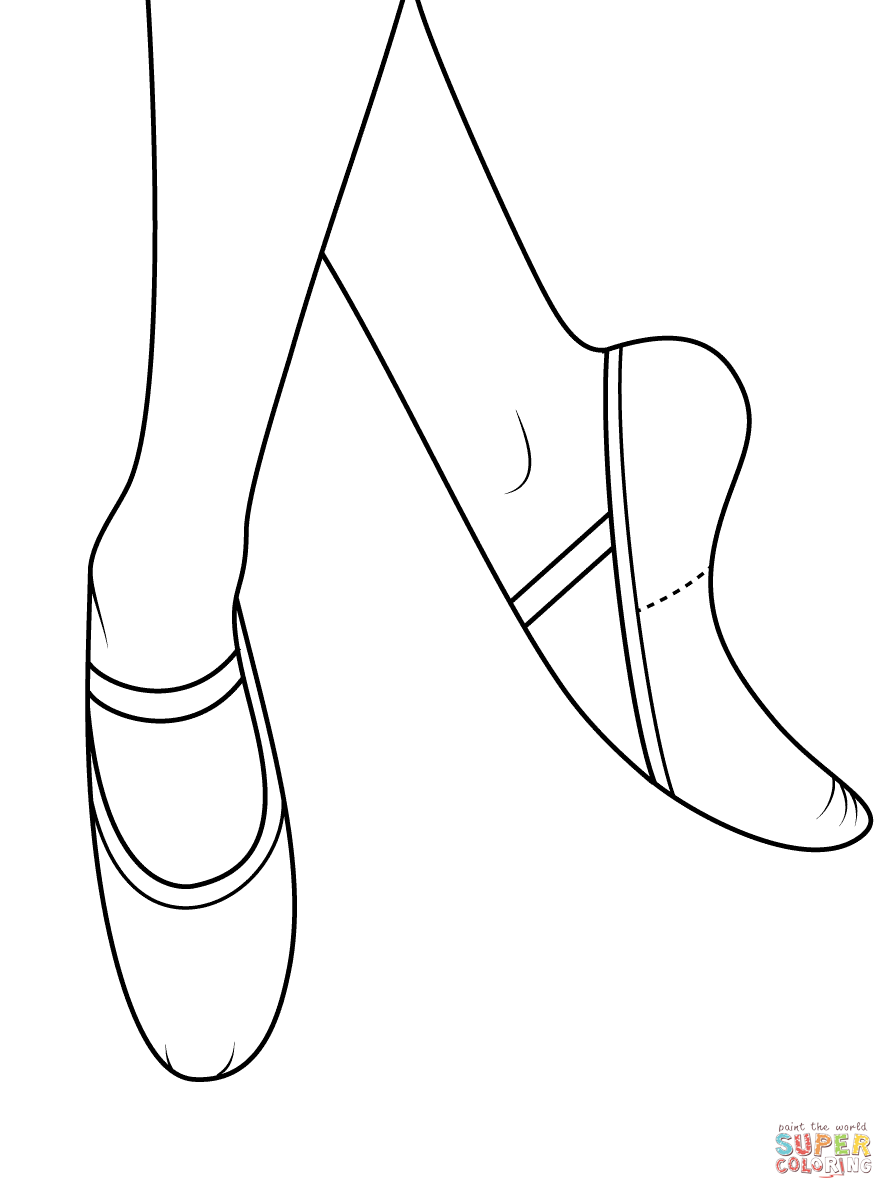 894x1199 Ballet Shoes Coloring Page Free Printable Pages
