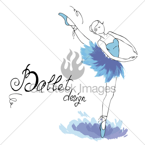 500x500 Ballet Dancer, Drawing In Watercolor Style Gl Stock Images