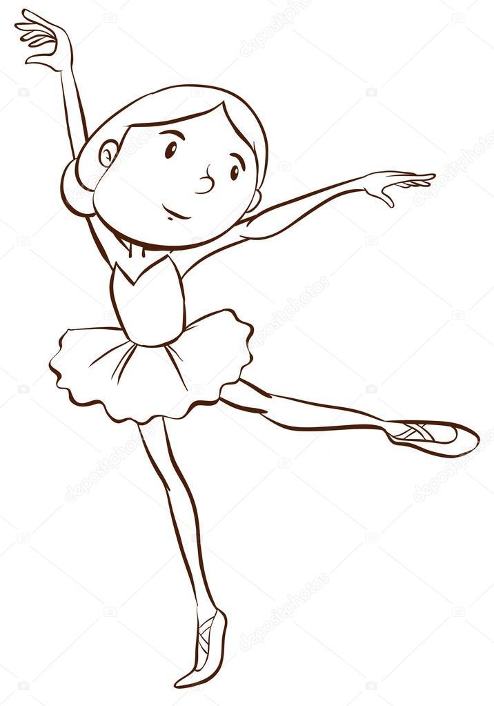 716x1023 A Plain Drawing Of A Ballerina Stock Vector Blueringmedia