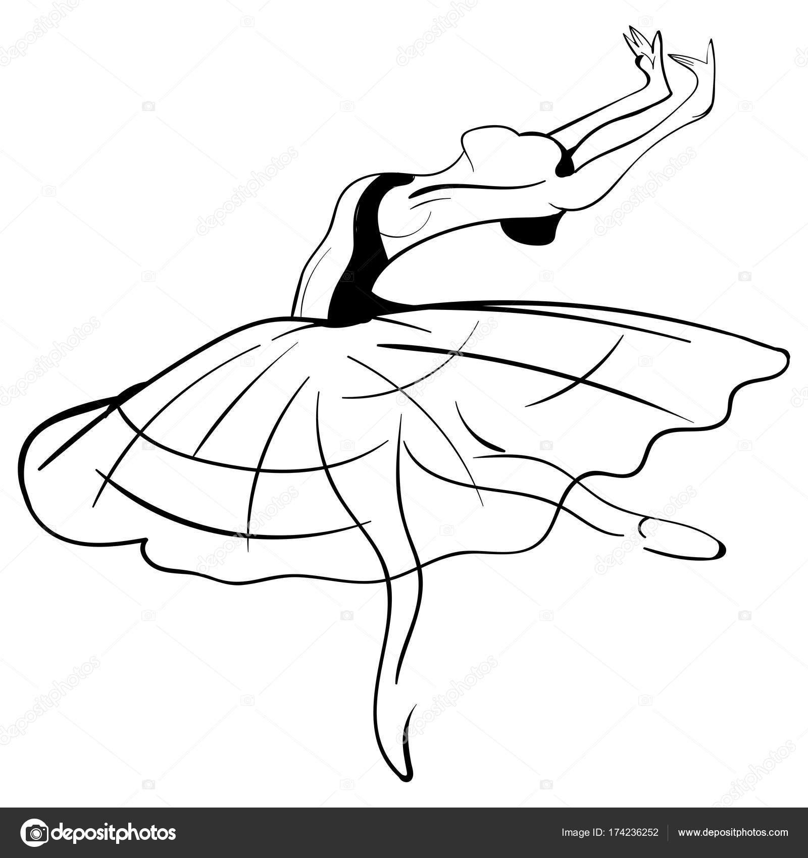 1600x1700 Beautiful Drawing Ballerina Sketch. Vector Stock Vector