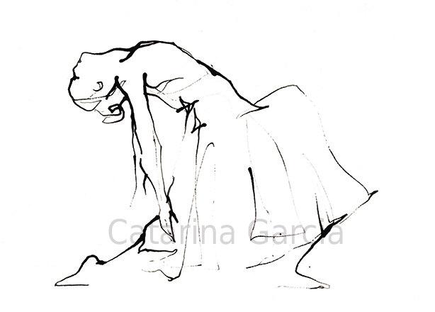614x440 Dance Drawing Series Ballet Print