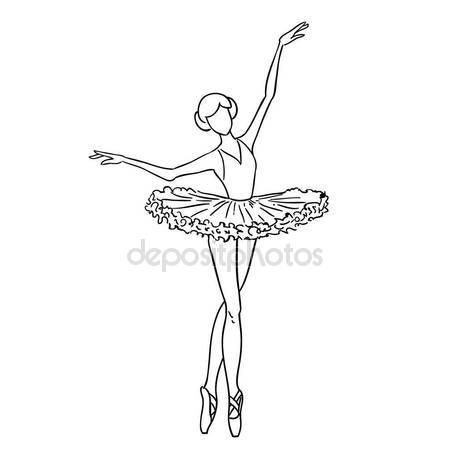 450x450 Illustration Of A Sketch Contour Drawing Of A Girl Ballerina