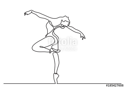 500x354 Continuous Line Drawing Of Woman Ballet Dancer Stock Image