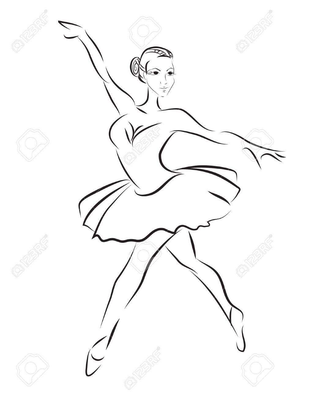 1010x1300 Contour Sketch Of Ballet Dancer Royalty Free Cliparts, Vectors