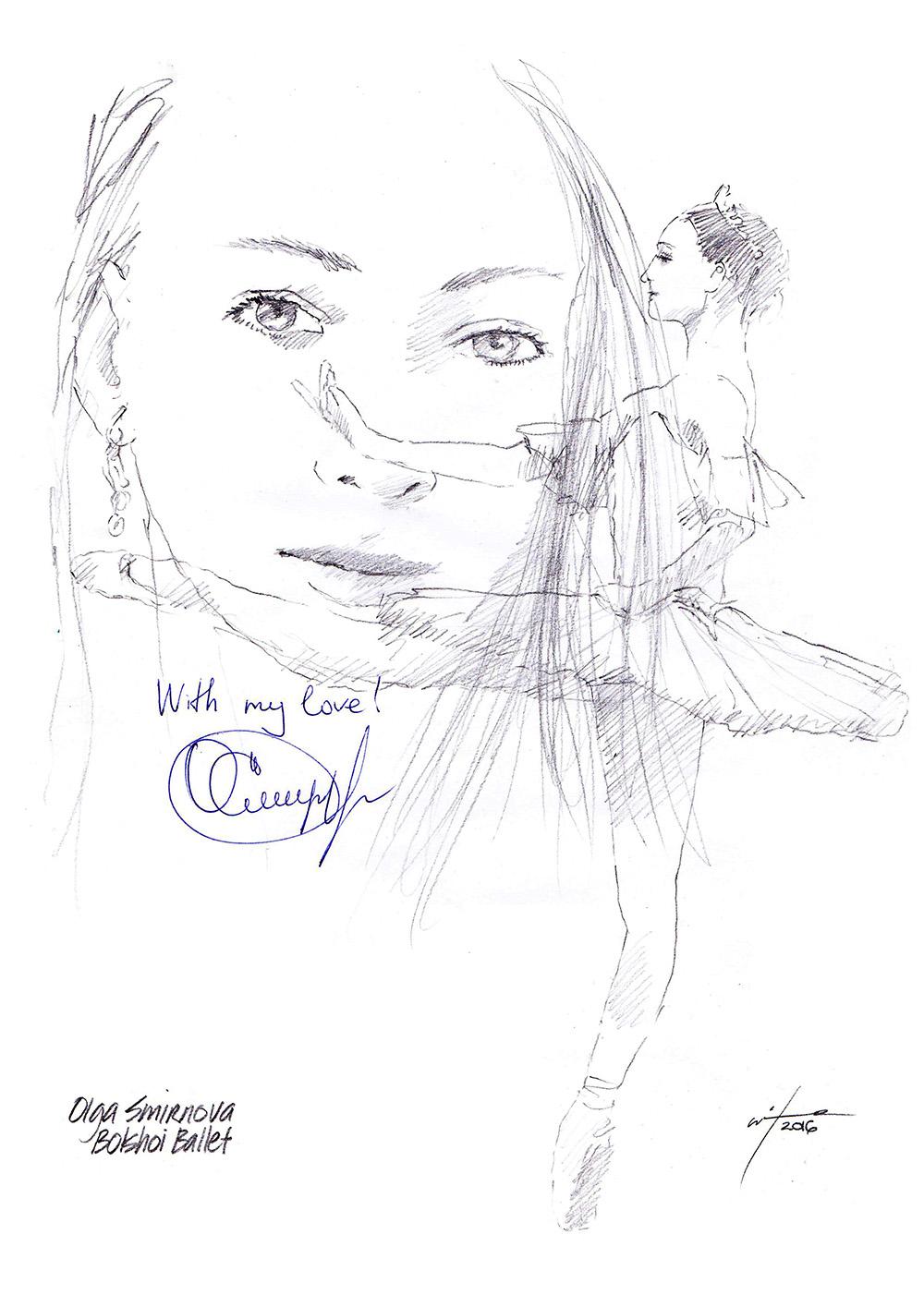 1000x1415 Drawing Olga Smirnova, Principal With The Bolshoi Ballet