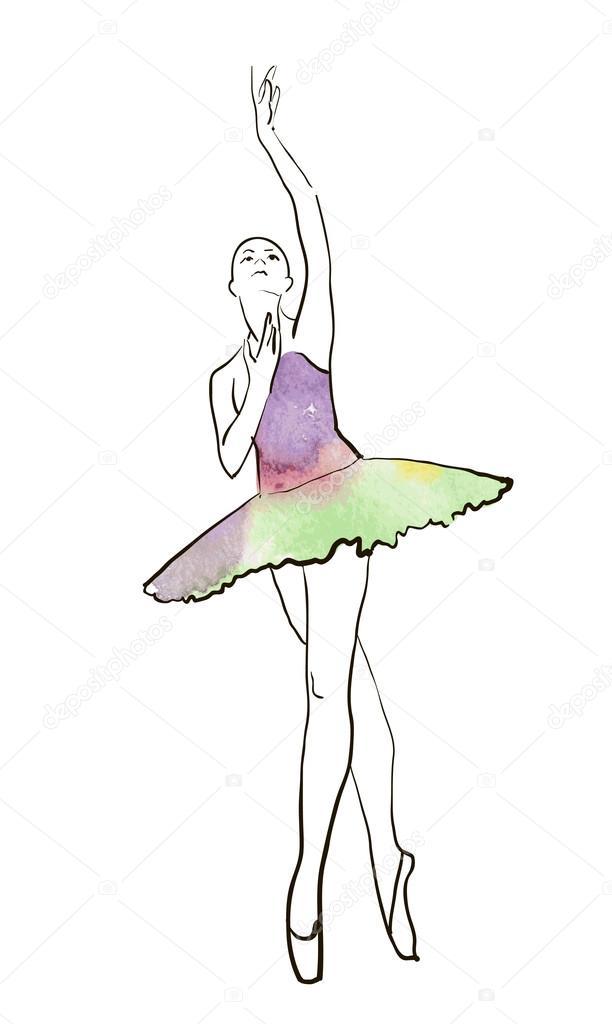 612x1024 Hand Drawing Ballerina Figure Stock Vector Mamziolzi