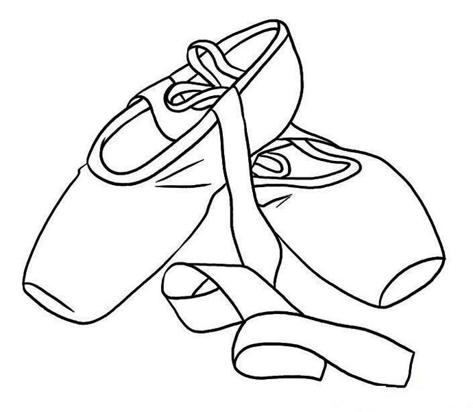 690x601 Pointe Ballet Shoes Coloring Pages