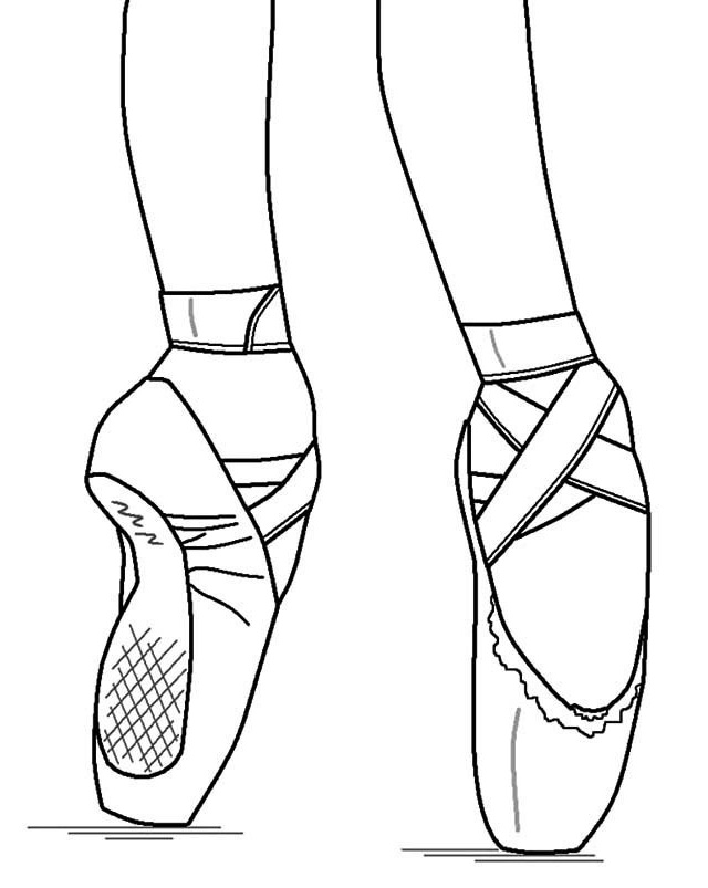 640x803 Pointe Ballet Shoes Coloring Pages