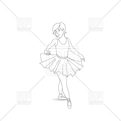 400x400 Girl Dancing In Ballet Shoes And Ballet Tutu Outline Royalty Free