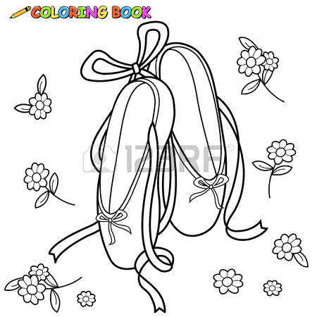 450x450 Ballet Shoes Coloring Book Page Royalty Free Cliparts, Vectors
