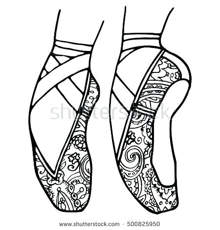 450x470 Coloring Pages Of Ballet Shoes Ballet Shoes Coloring Pages