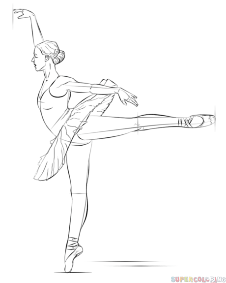 460x575 How To Draw A Ballerina Step By Step Drawing Tutorials