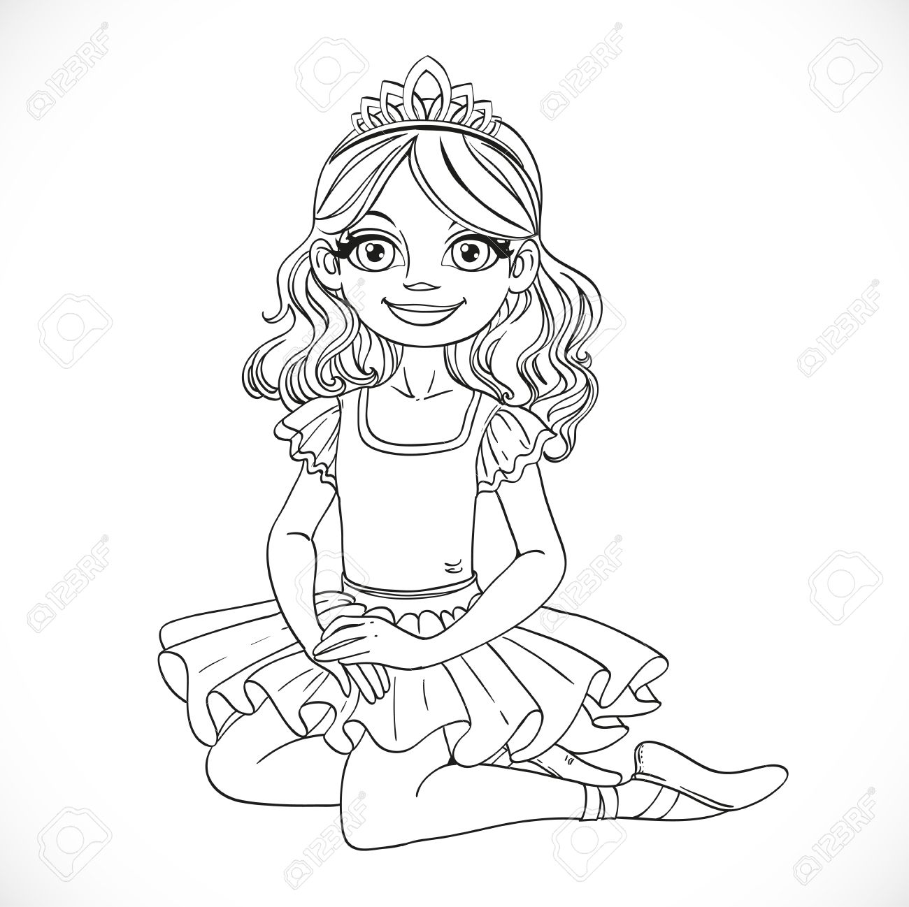 1300x1298 Ballerina Girl In Tutu And Tiara Sit Floor Outlined Isolated
