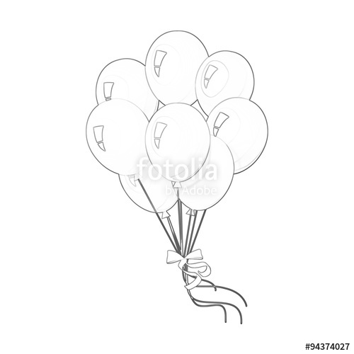 500x500 Illustration Coloring Book Series Bunch Of Balloons. Soft Line