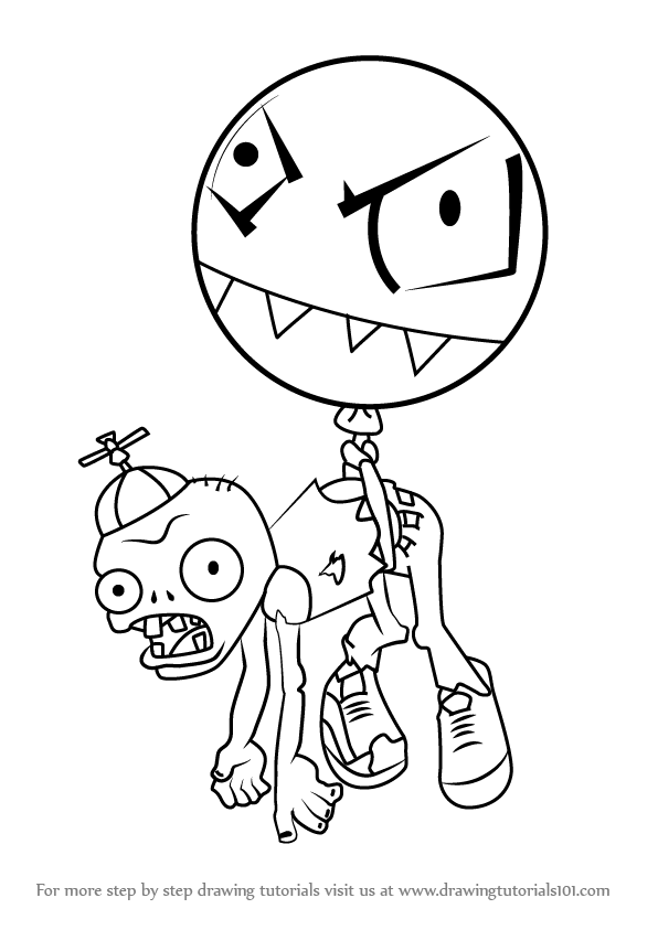 596x843 Learn How To Draw Balloon Zombie From Plants Vs. Zombies (Plants