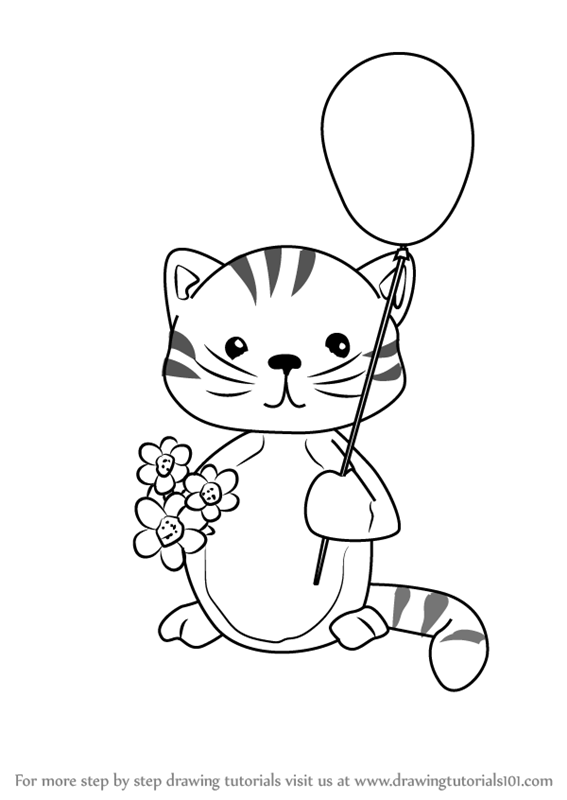 567x800 Learn How To Draw A Kitten With Balloon (Animals For Kids) Step By