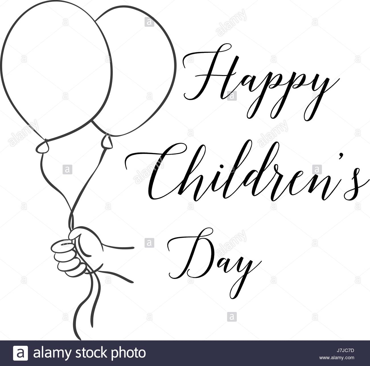 1300x1287 Childrens Day With Balloon Hand Draw Stock Vector Art