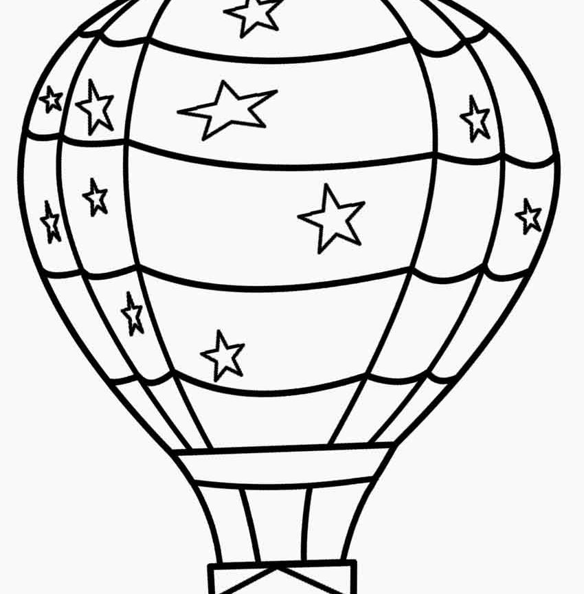 850x864 Cute Drawing Air Balloon Coloring Page Free Printable Pages Kids