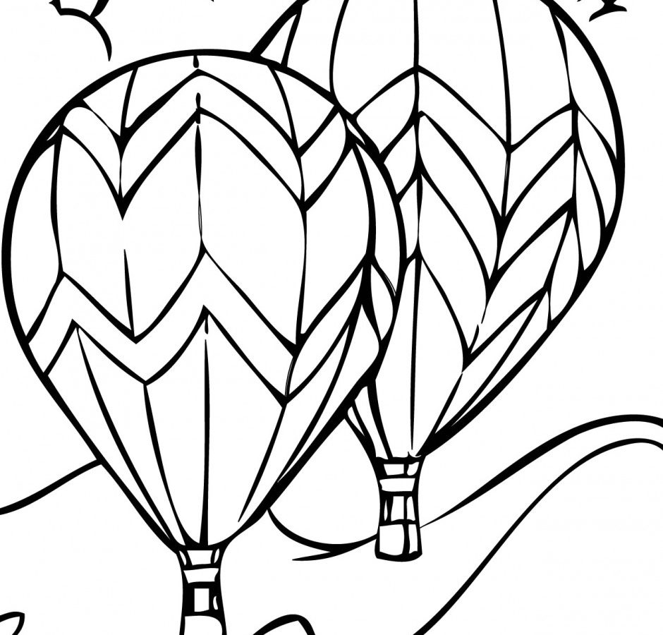 940x900 Cute Drawing Air Balloon Coloring Page Free Printable Pages