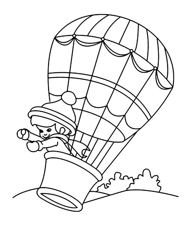 600x733 Hot Air Balloon Coloring Pages For Girls Pretty Draw Printable