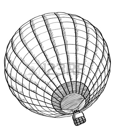375x450 Retro Hand Drawing Hot Air Balloon. Vintage Hot Air Airship Vector