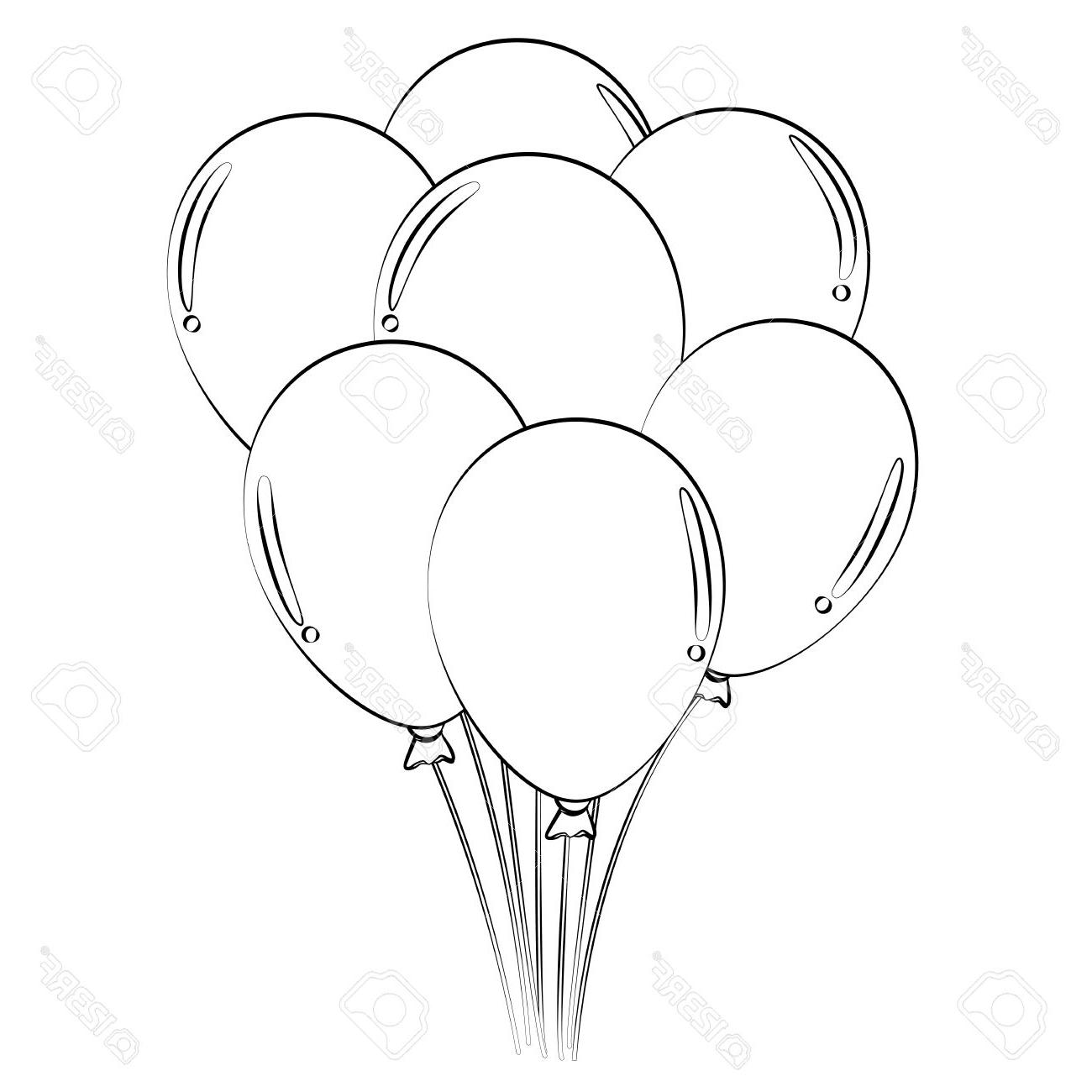 1300x1300 Top 10 Black Outline Vector Balloons On White Background Stock Drawing
