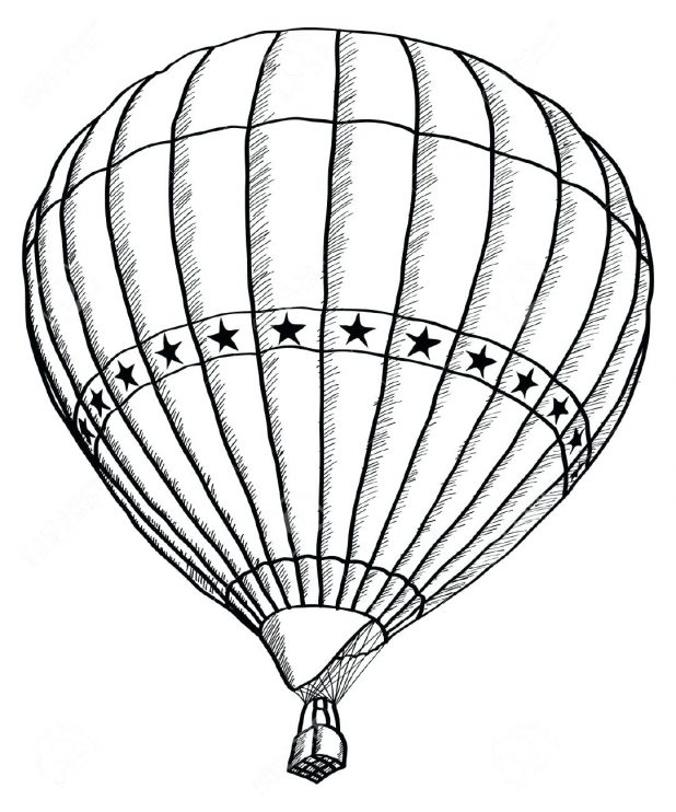 618x742 Balloon Hot Air Outline Clipart Drawing Template Hot Air Balloon