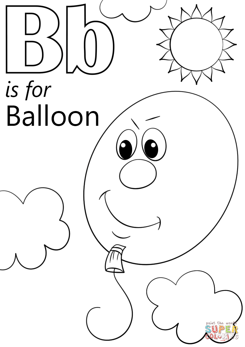 849x1200 Letter B Is For Balloon Coloring Page Free Printable Pages