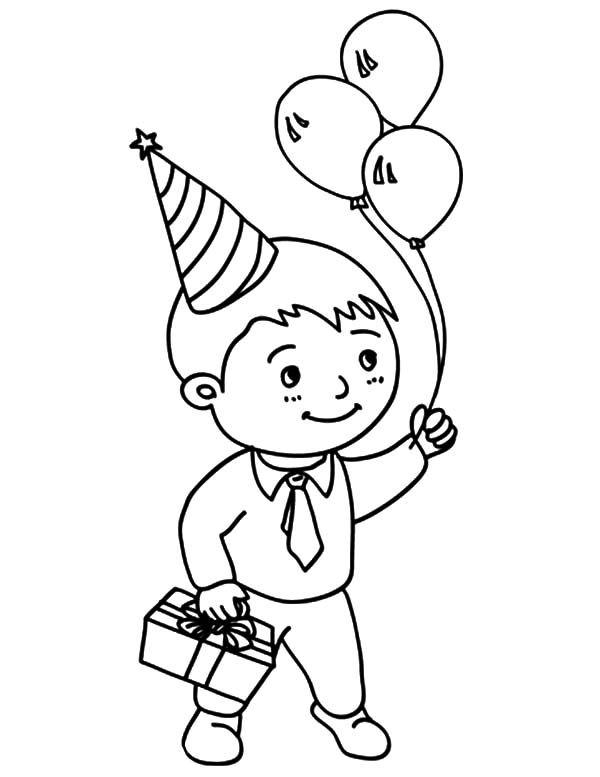 600x777 Birthday Boy Holding Three Balloons And Present Coloring Pages